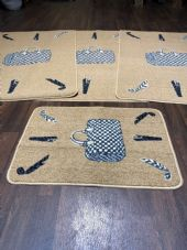 ROMANY GYPSY WASHABLE HAND BAG DESIGNS DARK BEIGE NON SLIP MATS BEST AROUND 4PCS